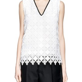 ERDEM - Vita bi-colour diamond lace overlay sleeveless top
