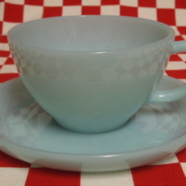 Fire King - Turquoise Blue Cup & Saucer #65