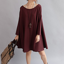 dress - Women Cotton Loose Fitting Cloak dress large size Loose doll knee length dress