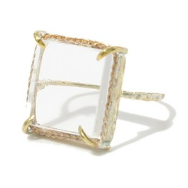 COSMIC WONDER Light Source - HANDMADE SQUARE CRYSTAL RING