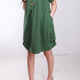 MaLieb - Summer dress/ cotton pleated Short sleeve dress with decorative buttons/ simple green fruit lantern dress