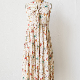 vintage 1970s butterfly print tiered dress