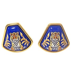 HERMES - MINT. Vintage Hermes cloisonne golden earrings with tiger design in blue. Fan