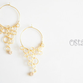 Ostara - 16K Gold Plated Bubble Foop Earrings