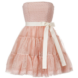REDValentino - Silk Strapless Dress with Tiered Tulle Skirt