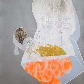 Tim Hussey - Mother's Home Life, 2013, mixed media and collage on paper