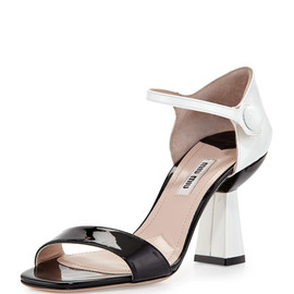miu miu - SS2014 Patent Ankle-Wrap Sandal with Flared Heel, Black/White