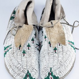 pair of late 19th century Cheyenne beaded moccasins