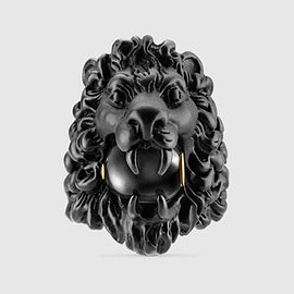 GUCCI - Lion head ring with glass pearl