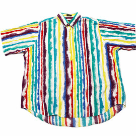 VINTAGE - Vintage 90s Colorful Striped 1/4 Button Down Shirt Mens Size XL