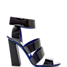 PROENZA SCHOULER - SS2015 Black Leather Sandal With Blue Sole