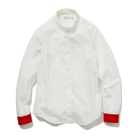 HEAD PORTER PLUS - RED CUFFS SHIRT WHITE