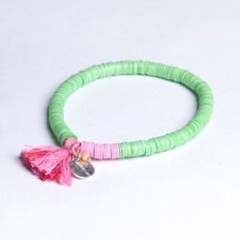 Chan Luu - Think Pink, Live Green Breast Cancer Sequin Stretch Bracelet