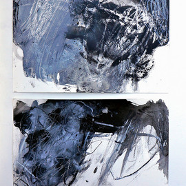 Mayako Nakamura - bless ( in reply to a poem by dswoo ), 2012, acrylic, chalk, charcoal on paper