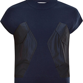 carven - Carven Pocketdetail Knit Cotton Top in Blue (Navy) - Lyst