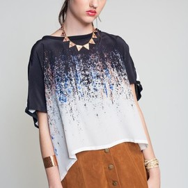 Twinkle - Twinkle by Wenlan Sheer and Knit Stripe Blouse