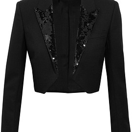 SAINT LAURENT - FW2015 Cropped sequin-embellished wool-crepe blazer