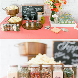 Wedding Chicks - calligraphy labled popcorn toppings