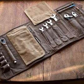 Cotter Pin Gear LLC, - THE ORIGINAL TOOL BOOK ™ (Sage Waxed Cotton & Leather Motorcycle Tool Roll)