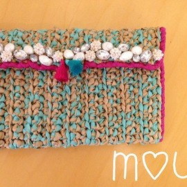 mou - camel & mint green pearl bijoux ribbon clutch