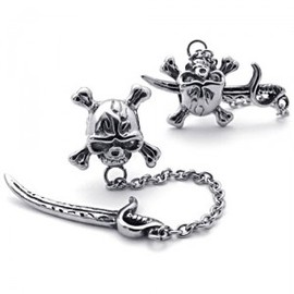 julyjoy - Titanium Steel Skull and Sword Stud
