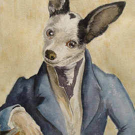 """Reserved for Jellos4me - 8x10"""" watercolor costumed pet portrait"""