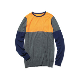 SOPHNET. - ANTIPILING WOOL CREW NECK KNIT/COLOR BLOCK grey×navy