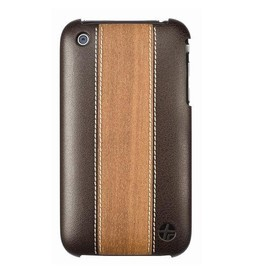 Trexta - Wood and Leather Series Snap-On Case for iPhone 3G and 3GS (Cherry on Brown)