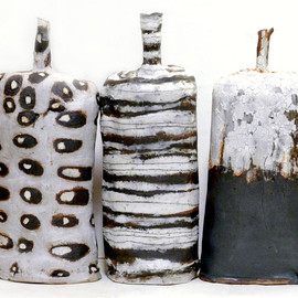 Brenda Holzke - relics, stoneware, porcelain slip, different color clays, heavy iron based glaze