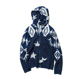 SOPHNET. - BIG STAR INDIGO SHEEP BACK CHEST PANEL HOODY