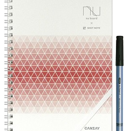 CANSAY - nu board A5 SHOTNOTEタイプ White & Grid Edition レッド