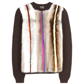 FENDI - MINK-PANELED WOOL PULLOVER