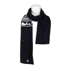 THOM BROWNE - FW2015 Scarf with turtle and whale intarsia pattern