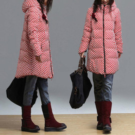 etsy - Red Polka Dot fashion down jacket winter coat Long padded hooded zip / casual duck down coat