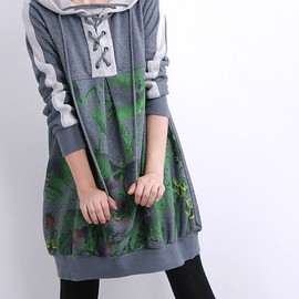 MaLieb - If/ gray hooded loose Long dress