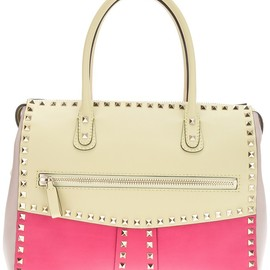 VALENTINO - studded two-tone tote