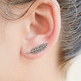 Sterling Silver Leaves Ear Pin
