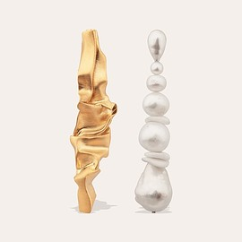 Completedworks - Crumple  Gold Vermeil, Pearl and Ceramic Earrings