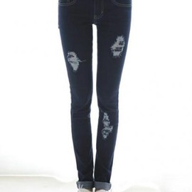 La.Select - スキニージーンズ.Skinny Jeans With Distressing