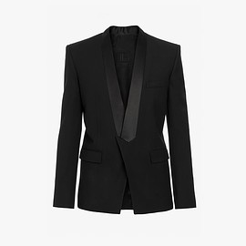 BALMAIN - Black crepe blazer with black satin pointed collar Jacket
