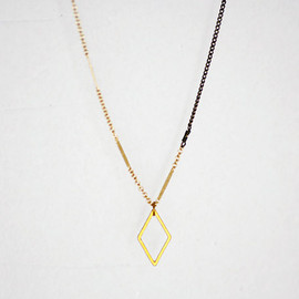 edor - Jager - brass diamond on dashed gold filled and long antique brass chain necklace - minimal industrial jewelry