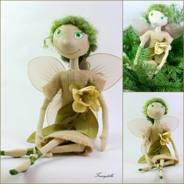 Luulla - Cloth Doll Fairy Fly - gift for St. Patrick's day - Ready to ship