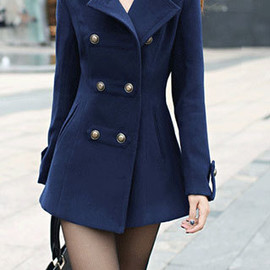 Elegant OL Style Solid Color Double Breast Lapel Strap Coat