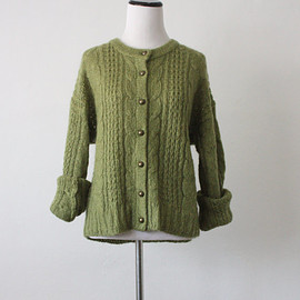vintage - vintage mossy cable knit cardigan