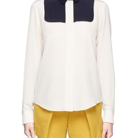 Chloe - Colour-block bib silk shirt