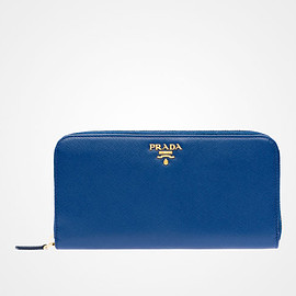 PRADA - Saffiano Metallic Gold leather wallet (corn flower blue)