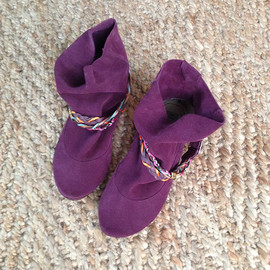 elehandmade - Soft Italian Leather Suede Prune Burgundy Wrinkled Booties