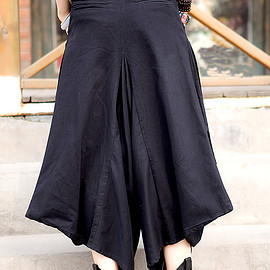 Black pants - Black Large pocket women pants women cotton Wide leg pants
