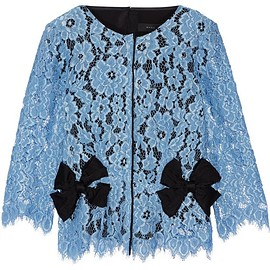 Marc Jacobs - Bow-embellished silk twill-paneled guipure lace top