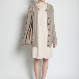 JIL SANDER -  Long Cable Knit Cardigan